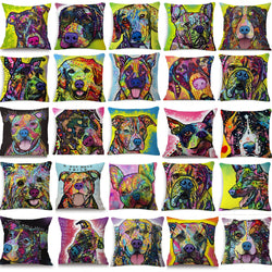 Colourful Painted Dog Pillowcases