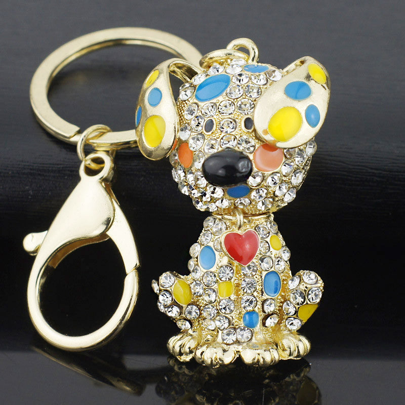 Dog Crystal Pendant Keychain & Necklace