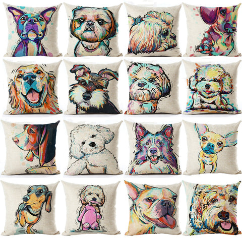 Dog Watercolor Pattern Cushion Cover Pillowcases