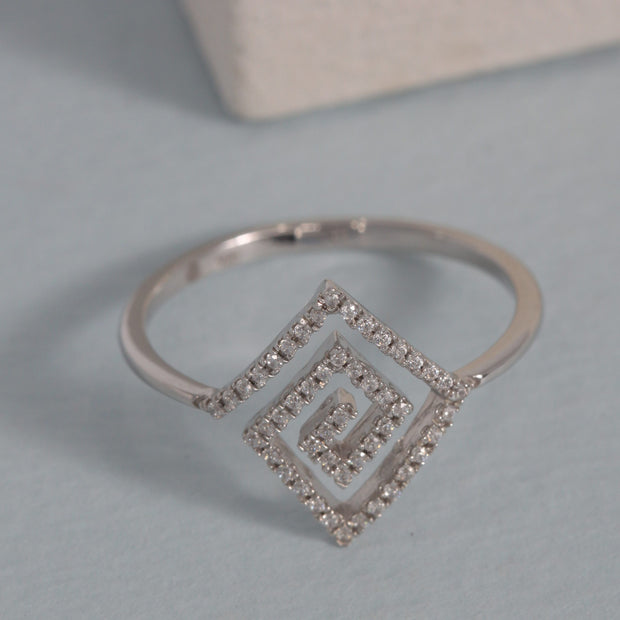 A-maze-Ing Sterling Silver and Diamond Ring