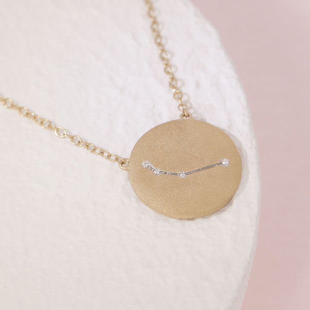 Aries Zodiac Necklace in Gold with Diamonds, alt view