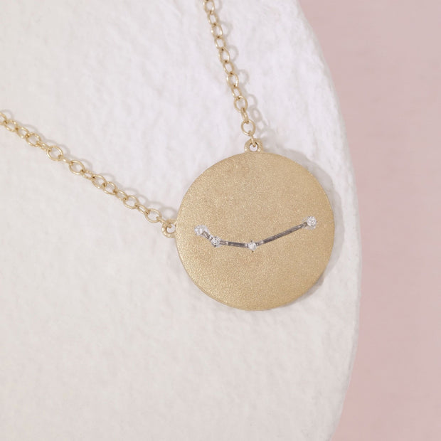 Aries Zodiac Necklace in Gold with Diamonds