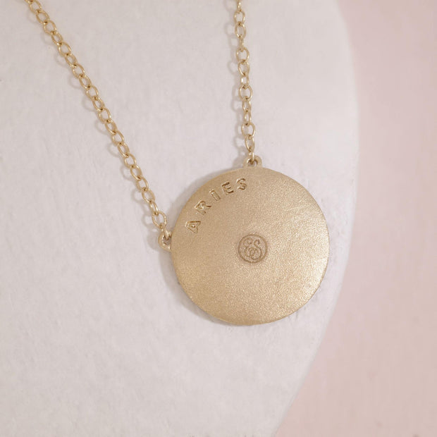 Aries gold zodiac necklace, back detail