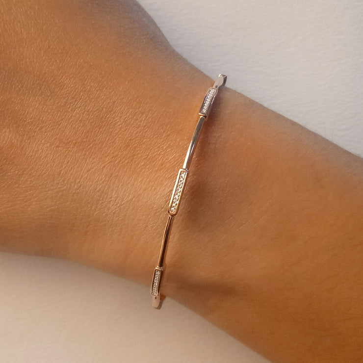 Wearing Third Time's a Charm Cuff Bracelet in Gold