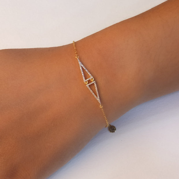 Wearing Watch Over Me Sterling Silver and Diamond Bracelet