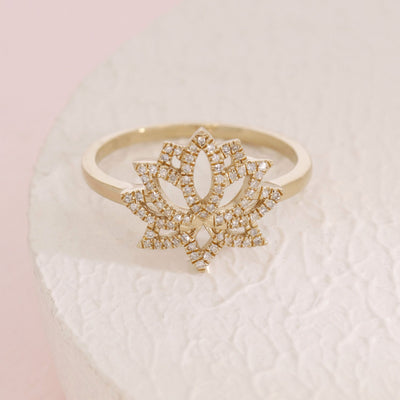 Blooming Lotus Diamond and Gold Ring