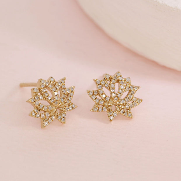 Blooming Lotus Gold and Diamond Stud Earrings