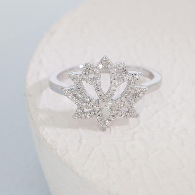Blooming Lotus Diamond and Sterling Silver Ring