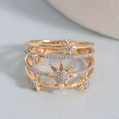 Bound For The Stars Gold and Diamond Ring