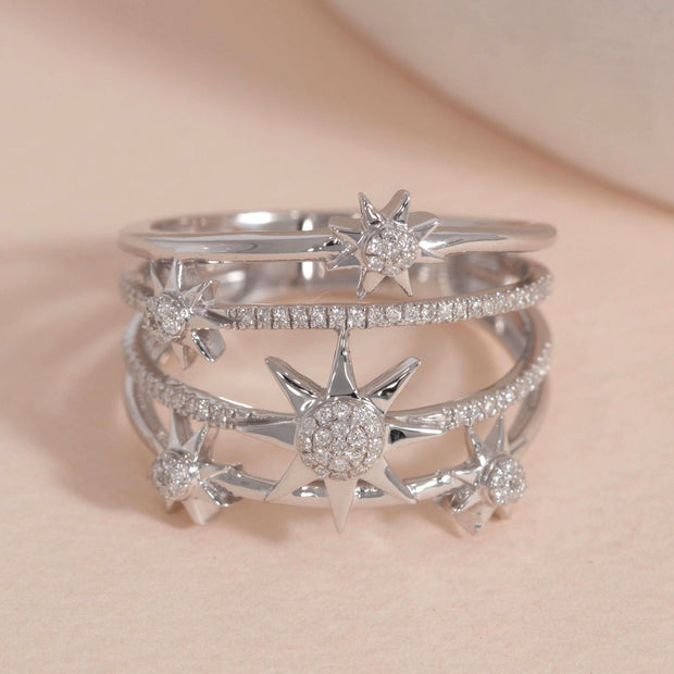 Bound For The Stars Sterling Silver and Diamond Ring