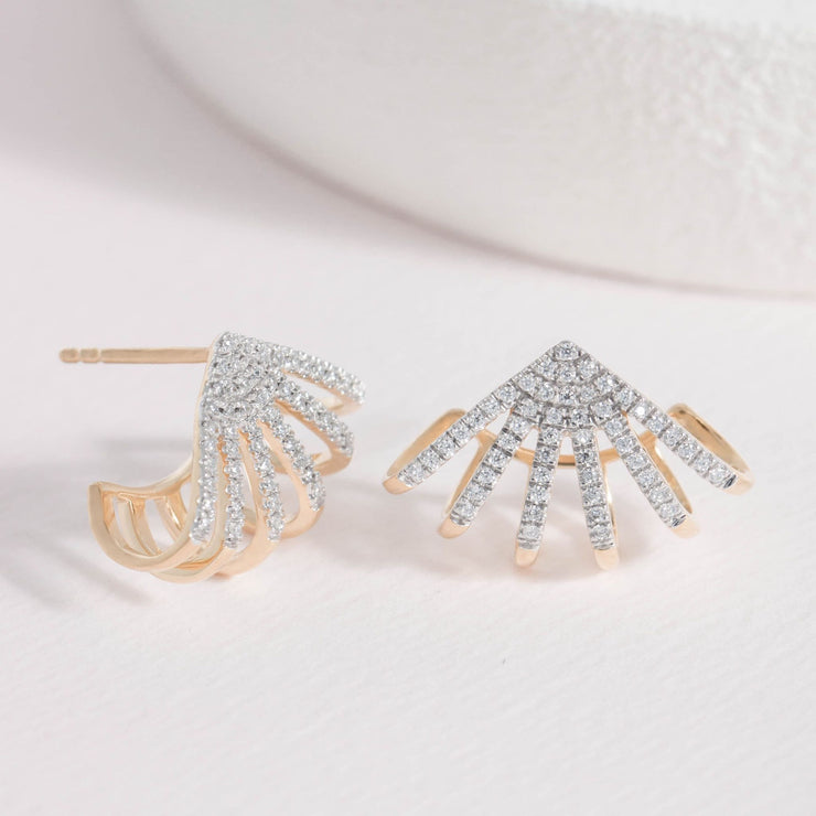 Branch Out Gold and Diamond Earrings