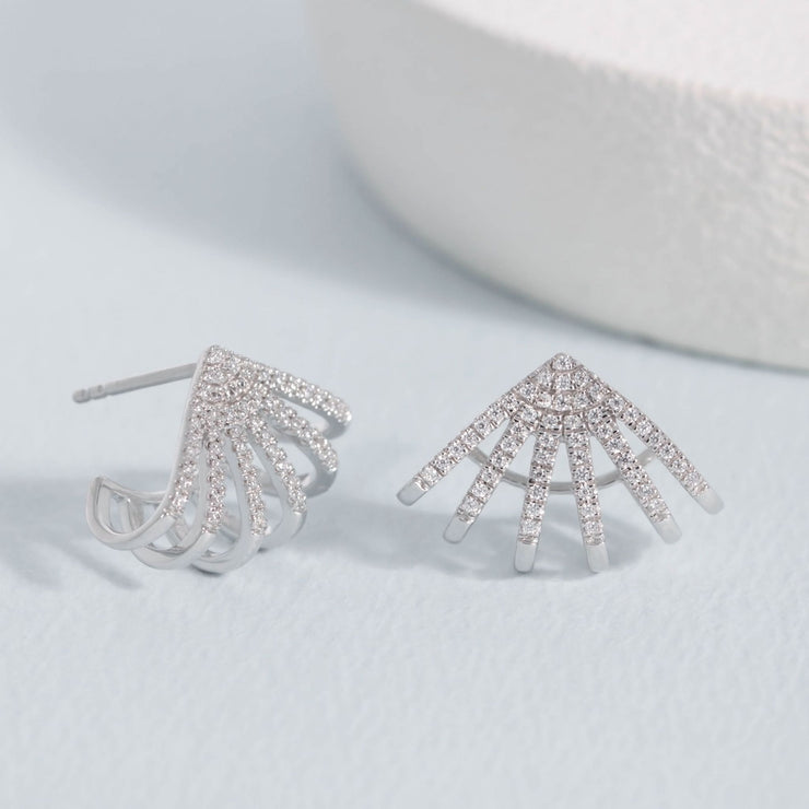 Branch Out Sterling Silver and Diamond Earrings