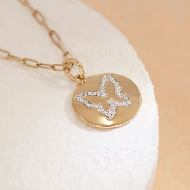 Butterfly Kisses Gold and Diamond Necklace