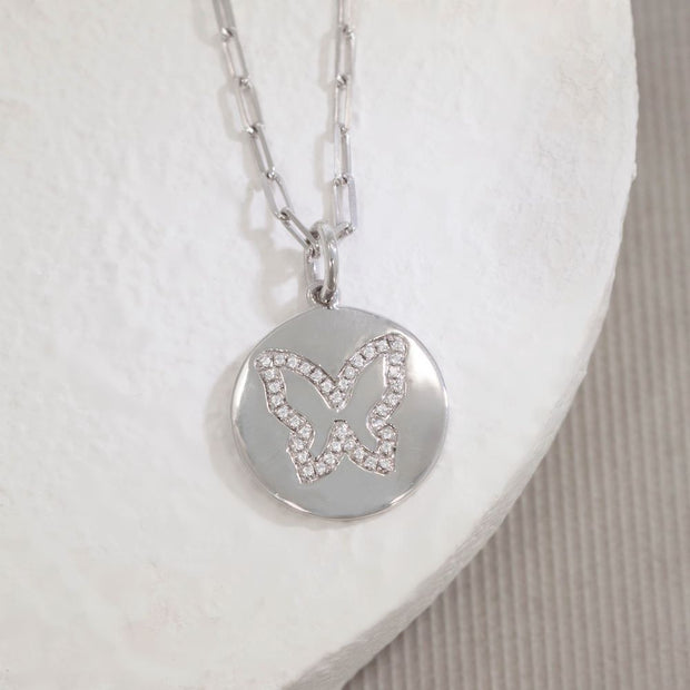 Butterfly Kisses Sterling Silver and Diamond Necklace