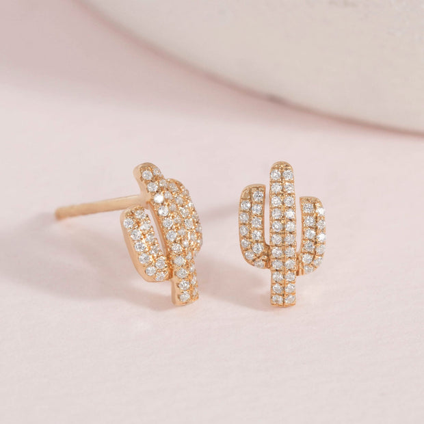 Cactus Gold and Diamond Earrings
