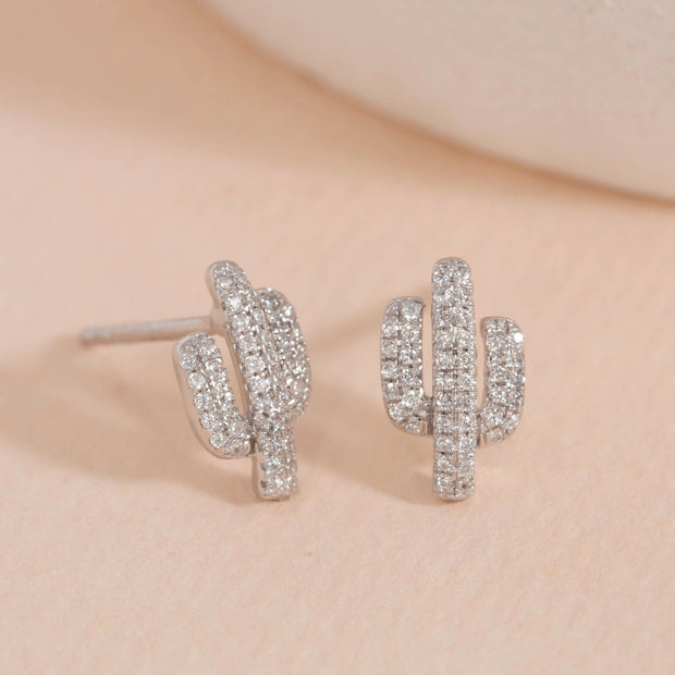 Cactus Sterling Silver and Diamond Earrings