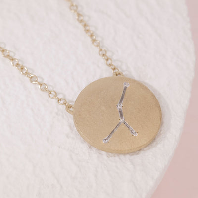 Cancer Zodiac Necklace in Gold with Diamonds, alt view
