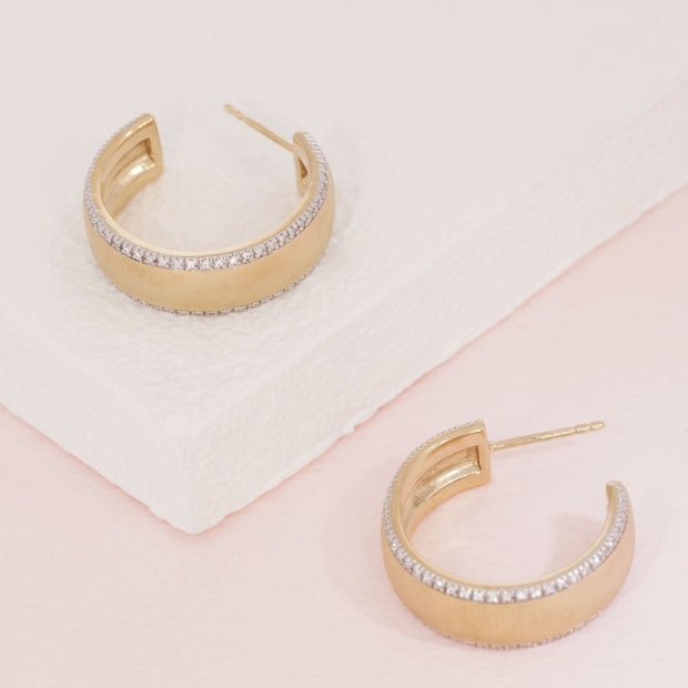 Chasing The Sun Gold and Diamond Medium Hoop Earrings