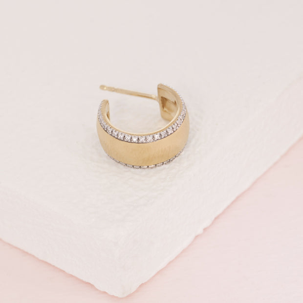 Chasing The Sun Matte Gold and Diamond Small Hoop Earrings, detail