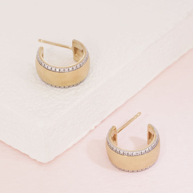 Chasing The Sun Matte Gold and Diamond Small Hoop Earrings