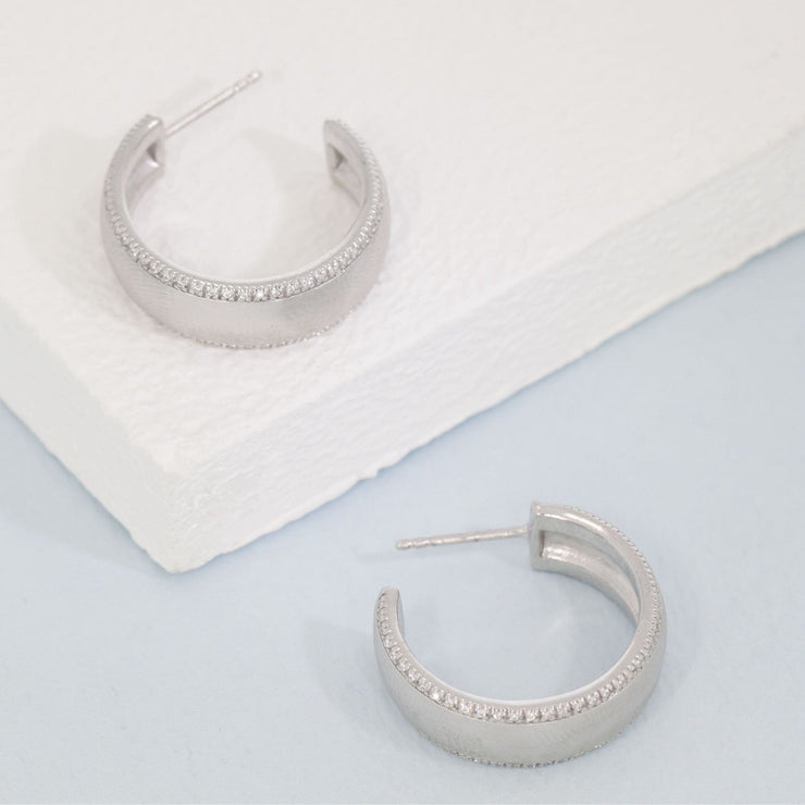 Chasing The Sun Sterling Silver and Diamond Medium Hoop Earrings
