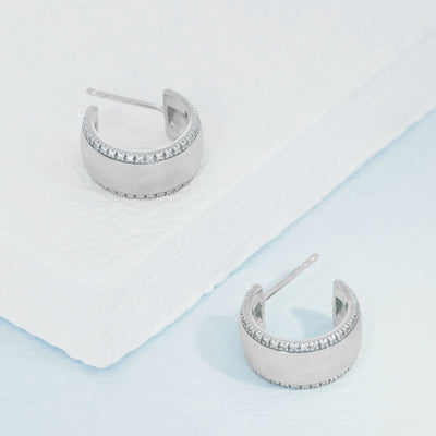 Chasing The Sun Matte Sterling Silver and Diamond Small Hoop Earrings