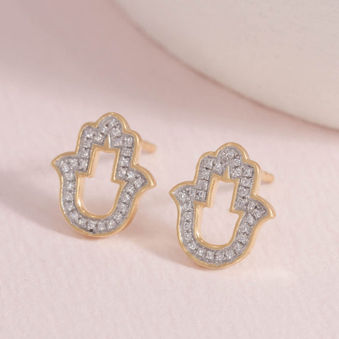 Talk to the Hand Gold Stud Earrings