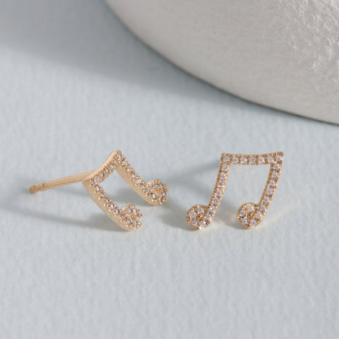 Make Music Gold Stud Earrings
