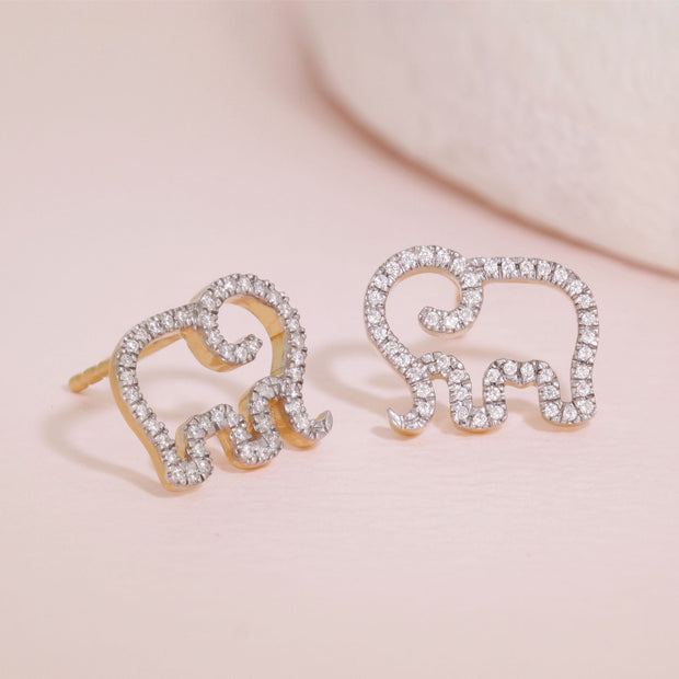Elephant Mom Gold Stud Earrings