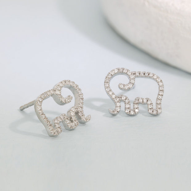 Elephant Mom Sterling Silver Stud Earrings