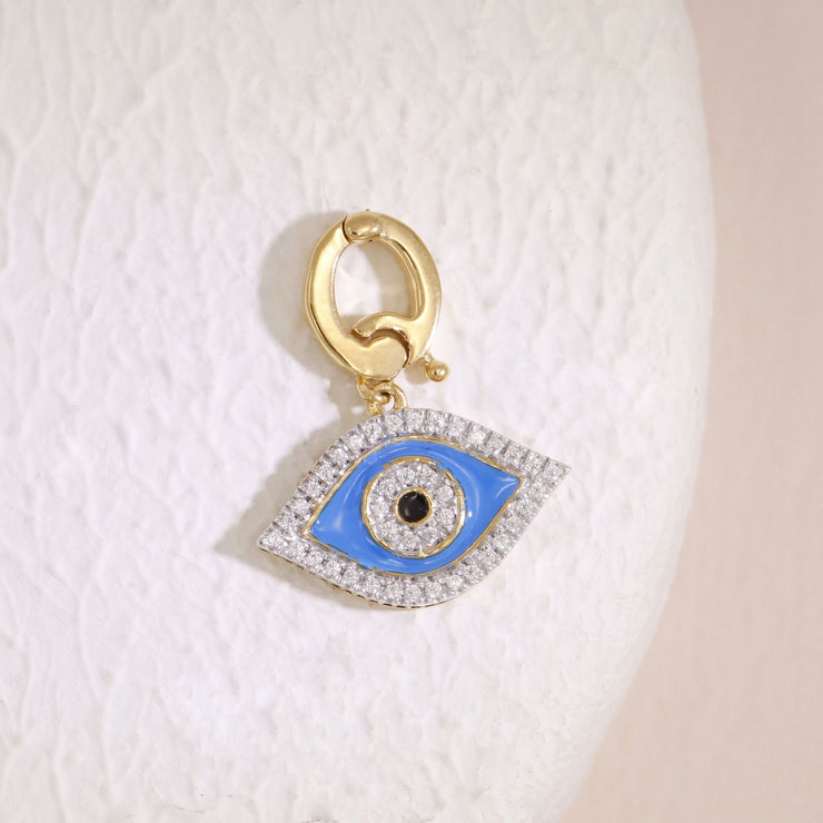 Evil Eye Blue Charm, Gold and Diamond Charm