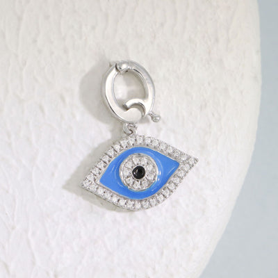 Evil Eye Blue Charm, Sterling Silver and Diamond Charm