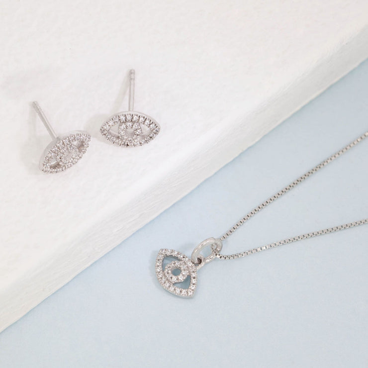 Eye On The Prize Sterling Silver Earrings and Diamond Necklace Gift Set