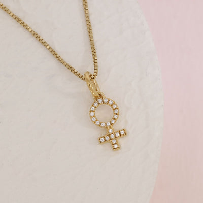 Female Symbol Gold and Diamond Necklace