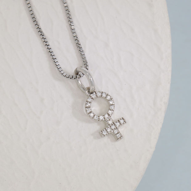 Female Symbol Sterling Silver and Diamond Necklace