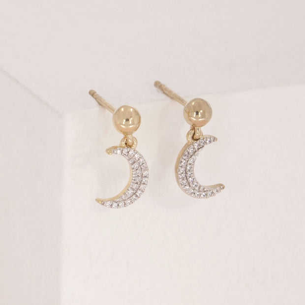 Fly Me To The Moon Gold and Diamond Earrings