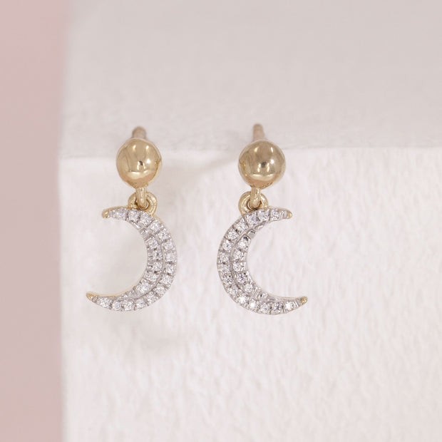 Fly Me To The Moon Gold and Diamond Earrings, detail