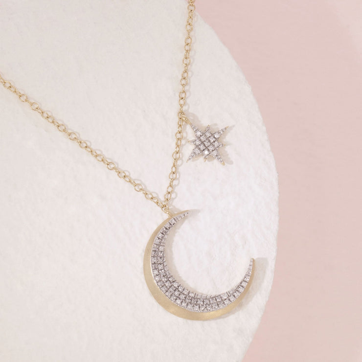Fly Me To The Moon Gold and Diamond Necklace