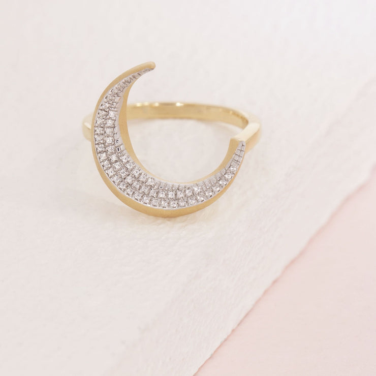 Fly Me To The Moon Gold and Diamond Ring