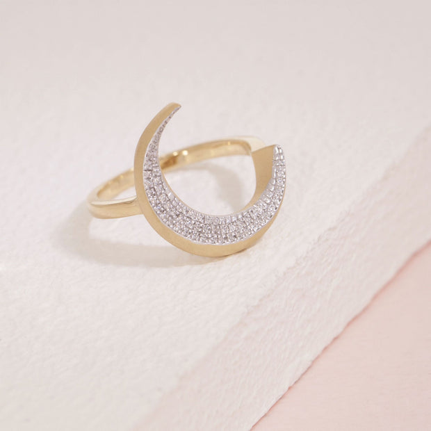 Fly Me To The Moon Gold and Diamond Ring, alt view