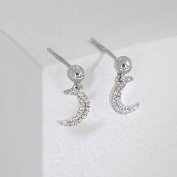 Fly Me To The Moon Sterling Silver and Diamond Earrings