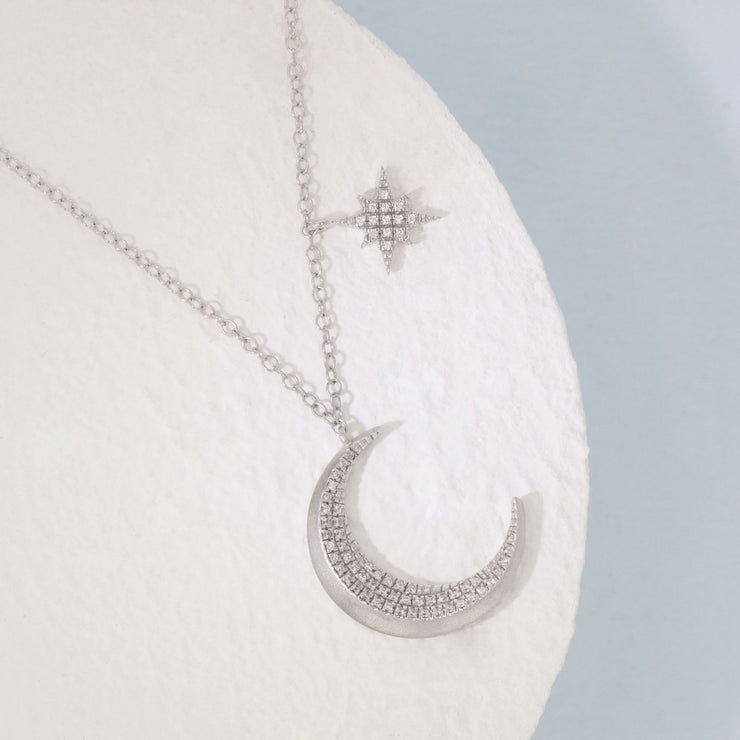 Fly Me To The Moon Sterling Silver and Diamond Necklace