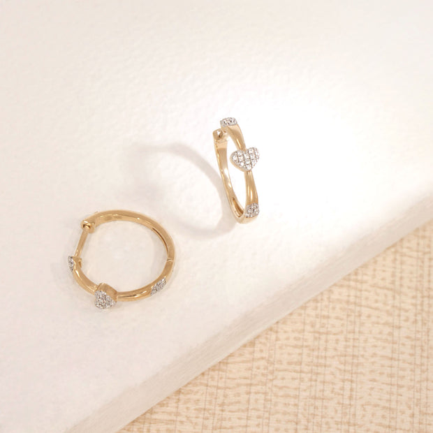 Follow Your Heart Gold and Diamond Hoop Earrings, alt view