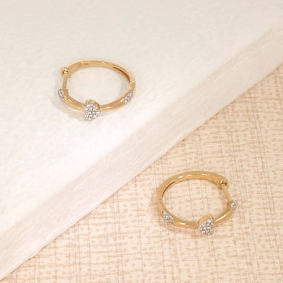 Follow Your Heart Gold and Diamond Hoop Earrings