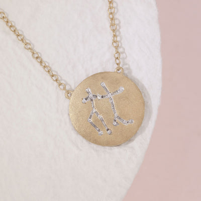 Gemini Zodiac Necklace in Gold with Diamonds