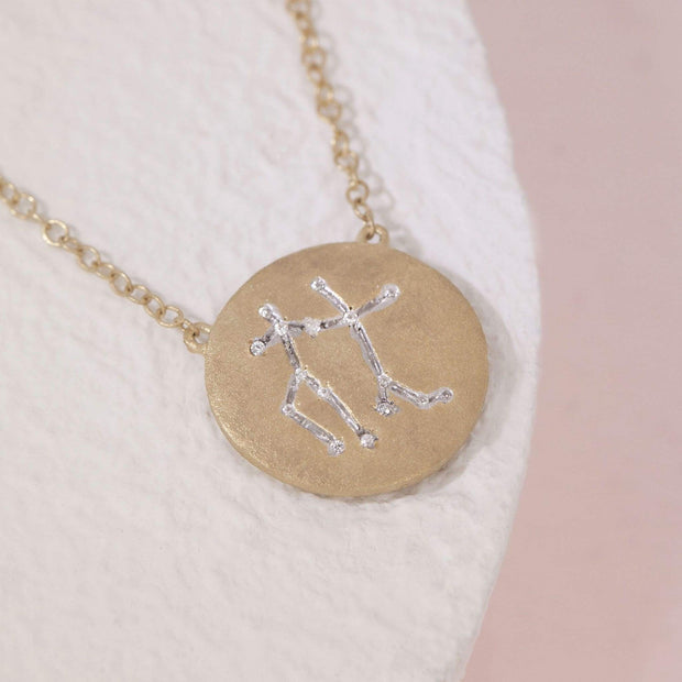 Gemini Zodiac Necklace in Gold with Diamonds, alt view