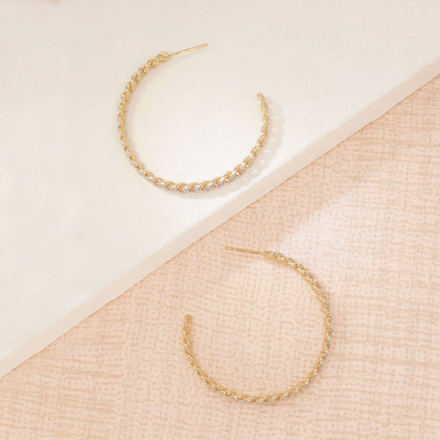 Hand In Hand Gold Hoop Earrings
