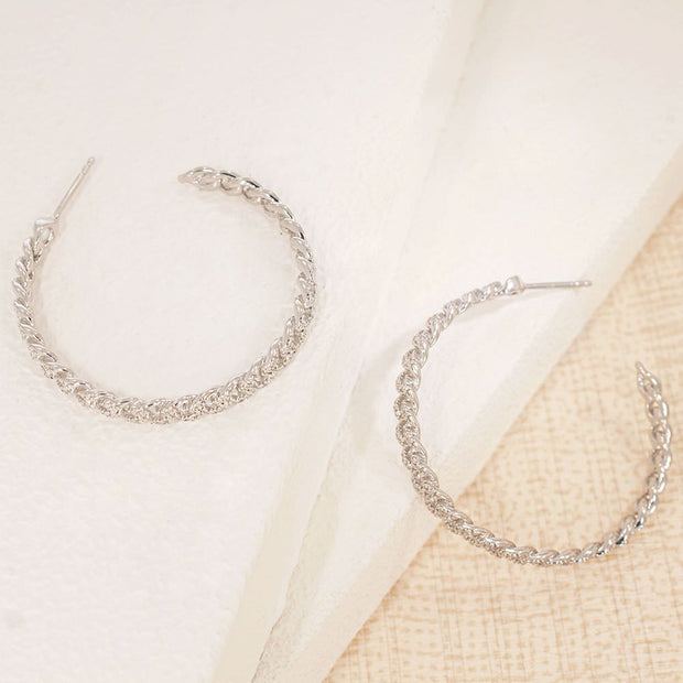 Hand In Hand Sterling Silver Hoop Earrings