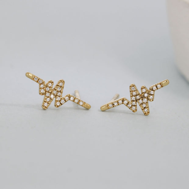 Heartbeat Gold and Diamond Stud Earrings