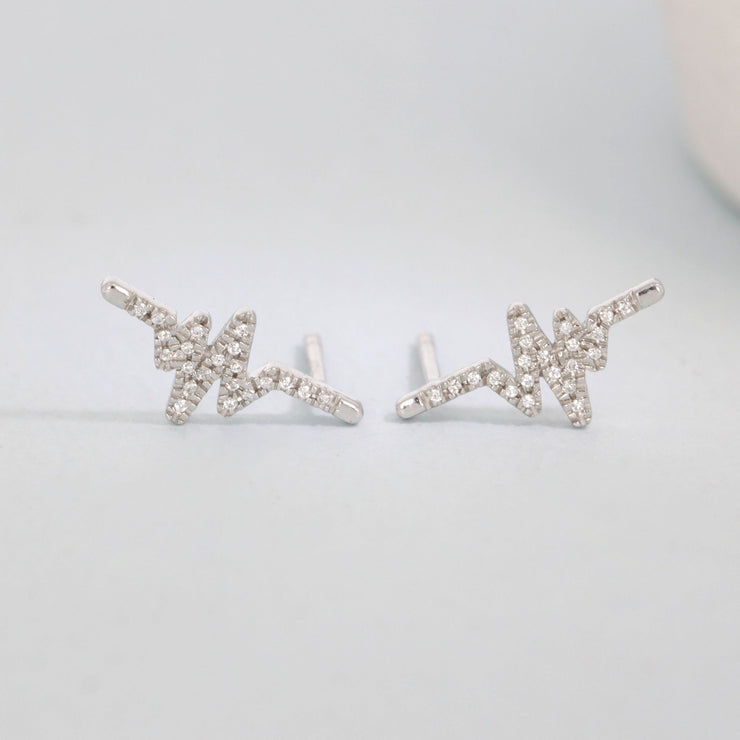 Heartbeat Sterling Silver Stud Earrings